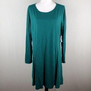 Stylus Green Shift Dress Long Sleeve Bold Emerald
